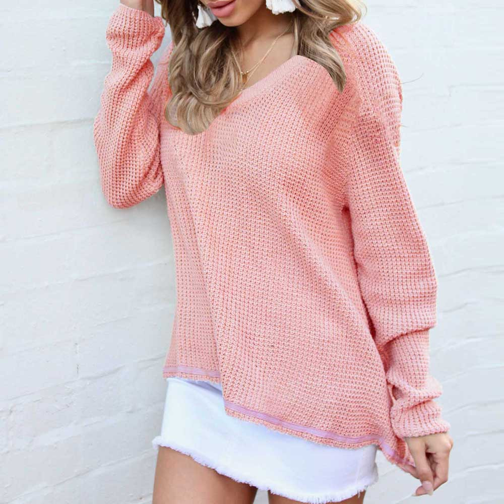 Women's V-neck long-sleeved top loose Casual Long Sleeve Soild pink Knitted winter cold Jumper V Neck Sweaters Blouse Tops F80