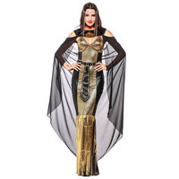 Gold/Black Adult Cosplay Athena Goddess Costume Ancient Egyptian Queen Cleopatra Fancy Dress Halloween Sexy Costumes For Women
