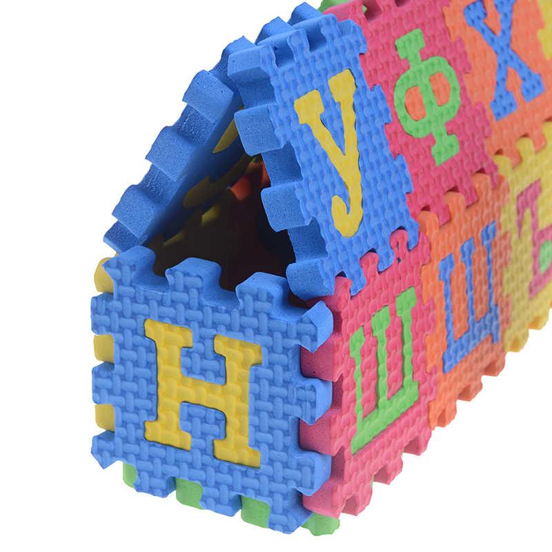 60 PCS 3D ปริศนาของเล่นเพื่อการศึกษาเด็ก MINI EVA โฟมรัสเซียตัวอักษรตัวอักษรตัวเลขชั้น Soft Baby MAT