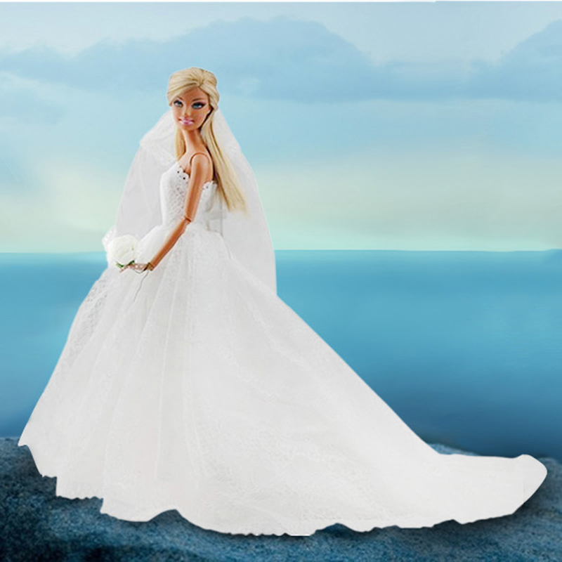 Elegant White Princess Evening Party Clothes Wears Long Dress Outfit Set for Barbie Doll with Veil