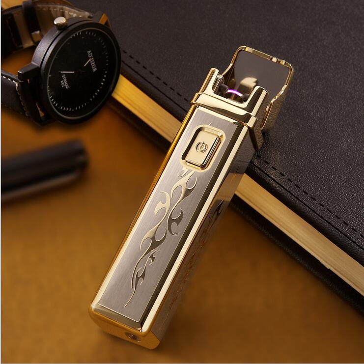 WHOLESALE Jobon USB rechargeable Windproof arc ultra thin creative impulse personality metal font b electronic b