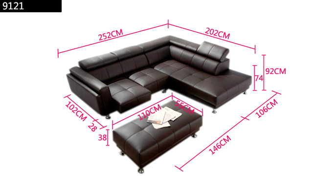 Free Shipping 2013 Latest Italy Design Genuine Leather L Shaped Corner Sofa with Ottoman Removable Seater Sofa 9121-1