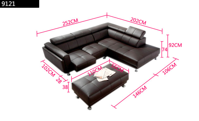 Charmant Free Shipping 2013 Latest Italy Design Genuine Leather L Shaped Corner Sofa  With Ottoman Removable Seater Sofa 9121 1