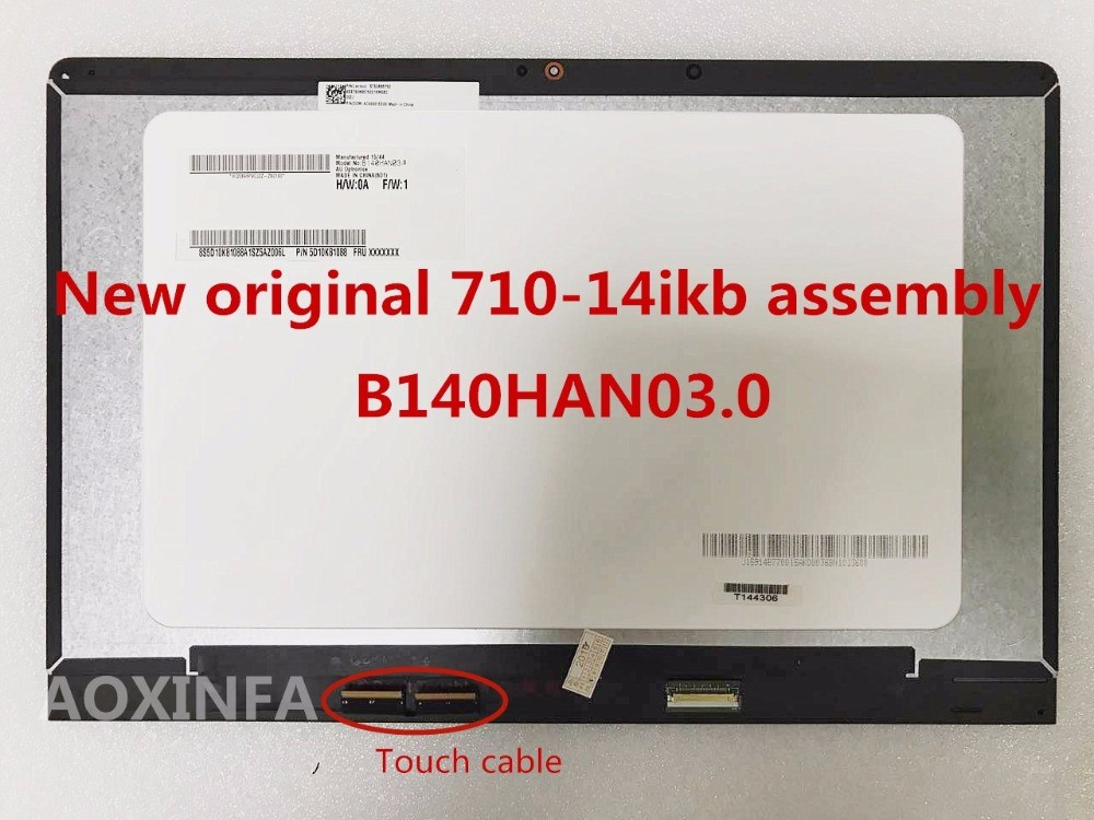 New original 14'' LCD Touch Screen Digitizer Display + Bezel for Lenovo YOGA 710-14 YOGA 710-14IKB 80V4 80V4002NCD Assembly new for lenovo lemon k3 k30 t k30 lcd display with touch screen digitizer assembly full sets black