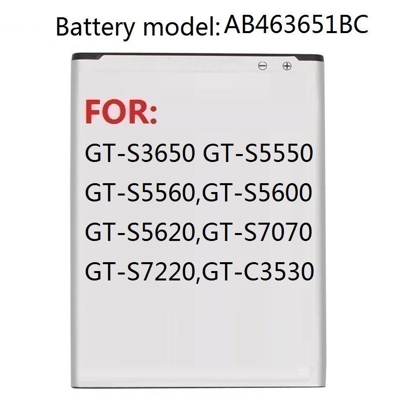 Replacement Battery AB463651BC For <font><b>Samsung</b></font> W559 S5608 S5628 C3200 C3222 C3322 S3650C S7070 S3370 S5610 S5620 L708 <font><b>L700</b></font> image