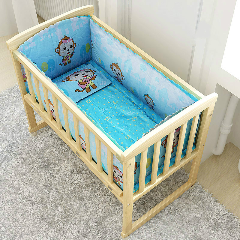 Simple solid wood child cribs multifunction baby bed newborn cradle bed with trolley baby nest variable desk BB beddings set цена