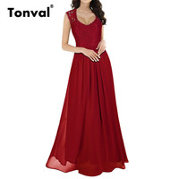 Tonval Women Casual Sleeveless Vintage Long Maxi Dress V Neck Lace Sexy See Though Back Elegant