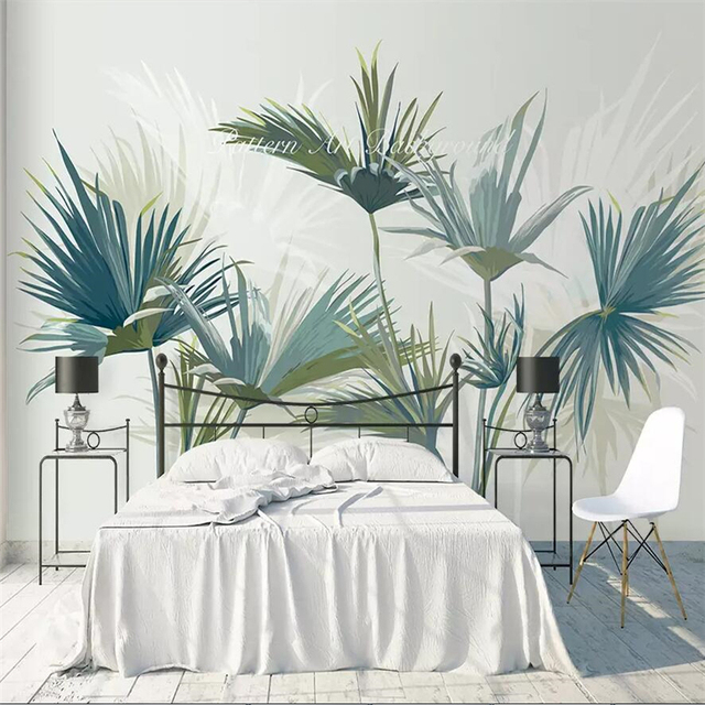 Beibehang Hand Painted Nordic Tropical Forest Palm Tree Sofa Tv Background Wall Custom Large Mural