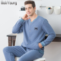BabYoung 2017 Brand Men Pajamas Sets Thicker Warm Mens Cotton Pyjama Bottoms Casual Full Sleeve Sleepwear Pajamas Pants For Male