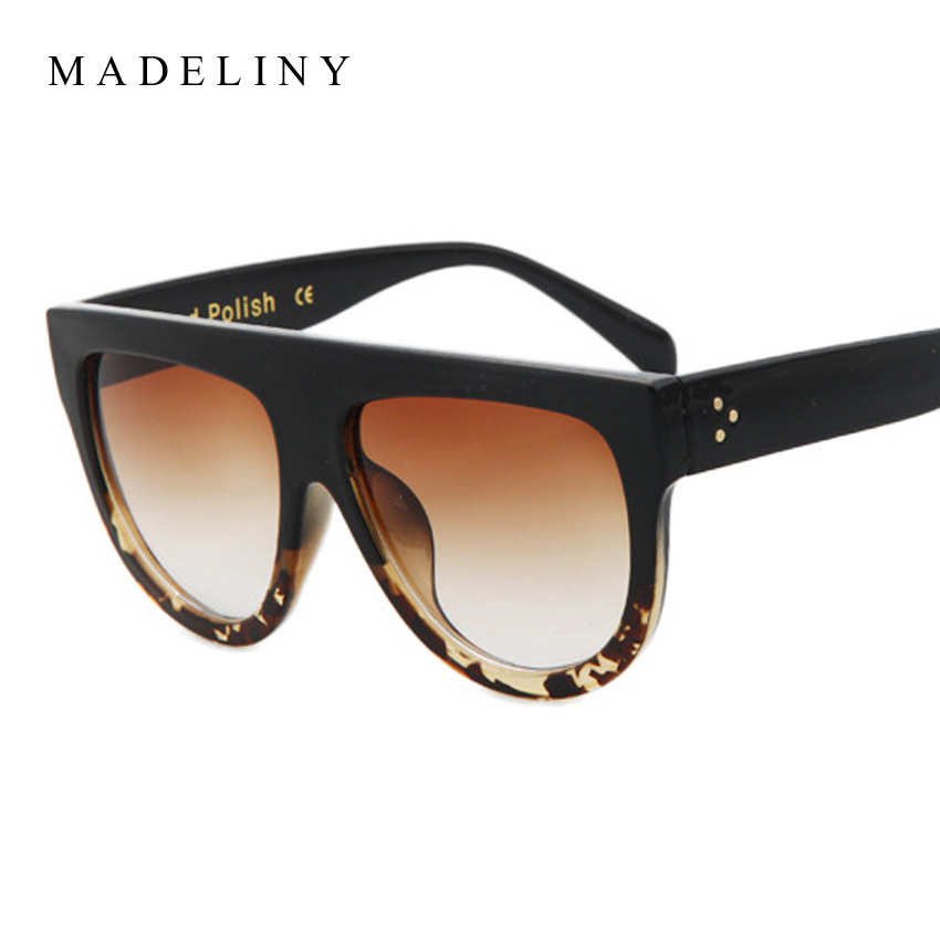 New Fashion Sunglasses Women High Quality Acetate Top Flat Shield Shape Sun Glasses Vintage Cat