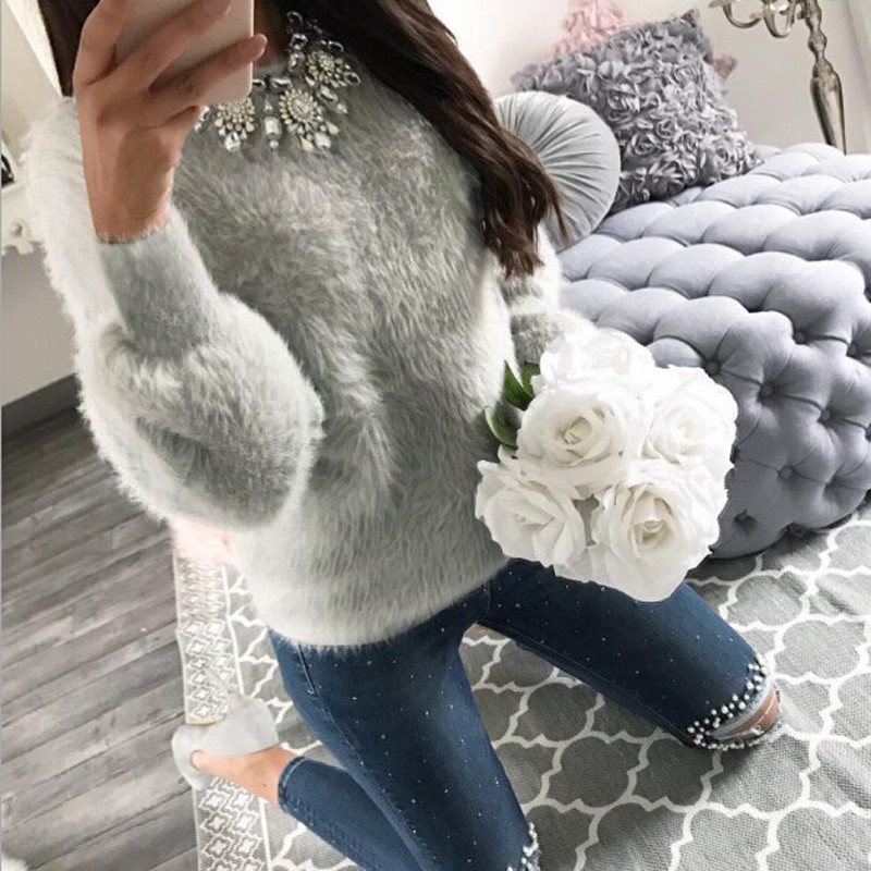 Cashmere Sweater Outwear Casual Jumper Long-Sleeve Women Pull Plush Korean Femme Winter