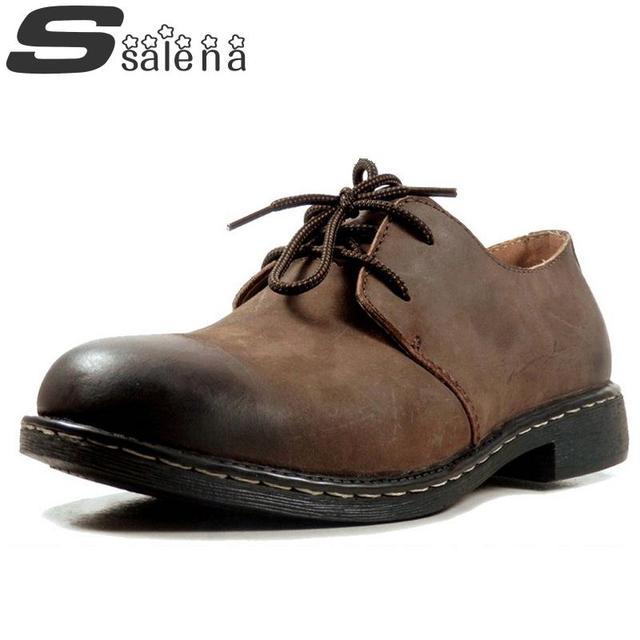 Oferta especial homens botas de marca original homens botas casuais genuínos homens de couro do inverno botas de couro fosco sapatos # C038