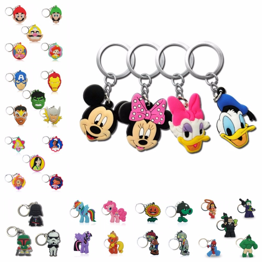Hot Sell Super Hero Princess PVC Cartoon Key Chain Anime Figure Mickey Avengers Hello Kitty Key Ring Kids Toy Trinket Key Holder