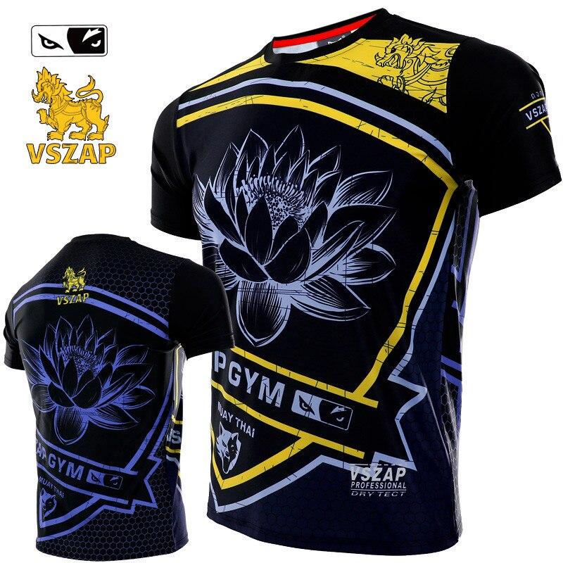 VSZAP Quick Dry MMA Muay Thai Boxing Shorts Muay Thai Sport Rash Guards Training Wear MMA Shirt Boxing Clothing
