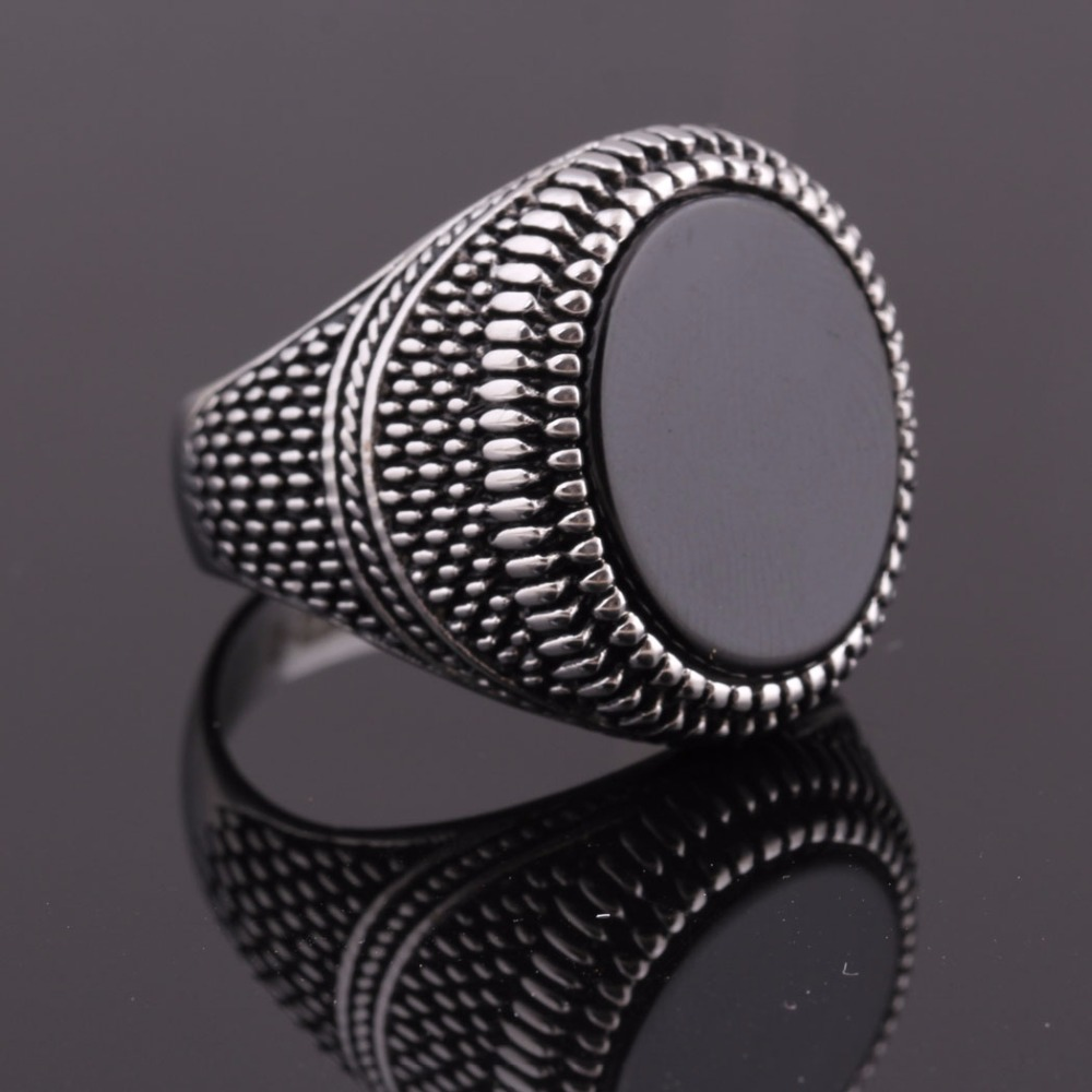 Fashion Super Hero Ring Men's Ring With Black Stone Ring 316L Stainless Steel Jewelry Vintage Silver Plated Ring 6