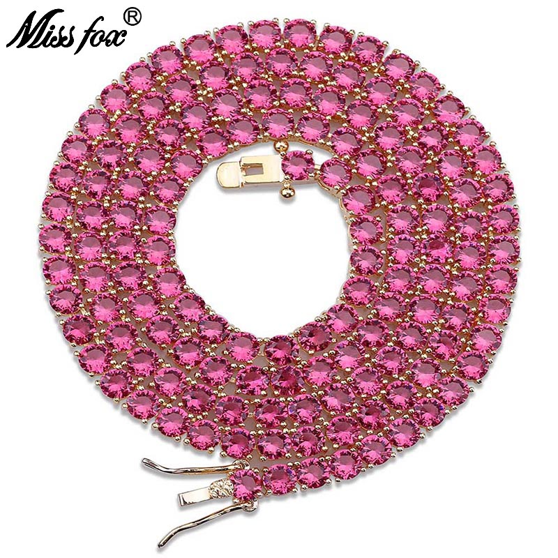 "MISSFOX HIP Hop 12mm Men's Lab Simulated 24K Gold Plated AAA CZ Rainbow Stones Button Link Chain Bracelet Necklace 18"" 22"