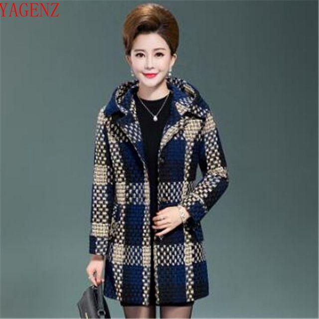 ce0c74994f40 Mulheres de meia idade roupas tamanho Grande Camisola Elegante Outono/inverno  casaco Novo produto de