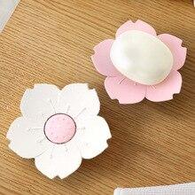 1pcs Cherry Blossoms Shape Plastic Soap Dish Creative Bathroom Draining Soap Holder Box deli 9139 creative apple shape plastic pen holder green