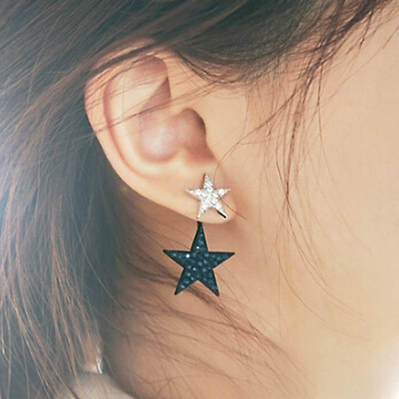 Cute Rhinestone Double Star Earrings For Women 2017 New Gold-color Jewelry Wholesale Gift