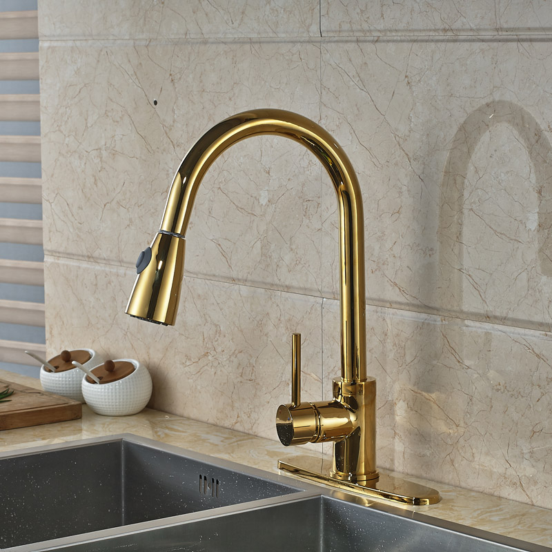 Luxury One Handle Hot and Cold Kitchen Sink Faucet Deck Mounted Single Hole Pull Out Kitchen Shower Head Mixer Taps kitchen chrome plated brass faucet single handle pull out pull down sink mixer hot and cold tap modern design