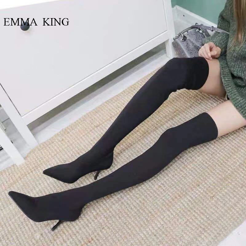 New Stretch Over the Knee Boots Pointed Toe Stiletto High Heels Long Boots Fashion Sardine Cloth Thigh High Boots Ladies ShoesNew Stretch Over the Knee Boots Pointed Toe Stiletto High Heels Long Boots Fashion Sardine Cloth Thigh High Boots Ladies Shoes