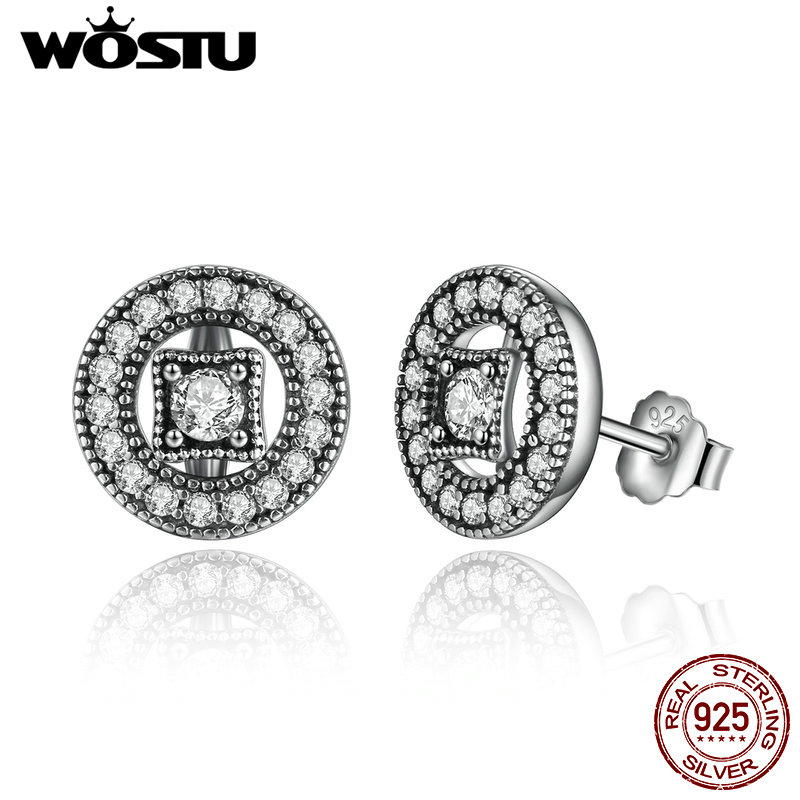 Hot Sale Authentic 925 Sterling Silver Vintage Allure Stud Earrings For Women Compatible With Original Brand Jewelry Gift