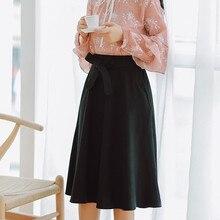 Women Elegant Skirt High Waist Pleated Knee Length Vintage A Line Big Bow Skirts