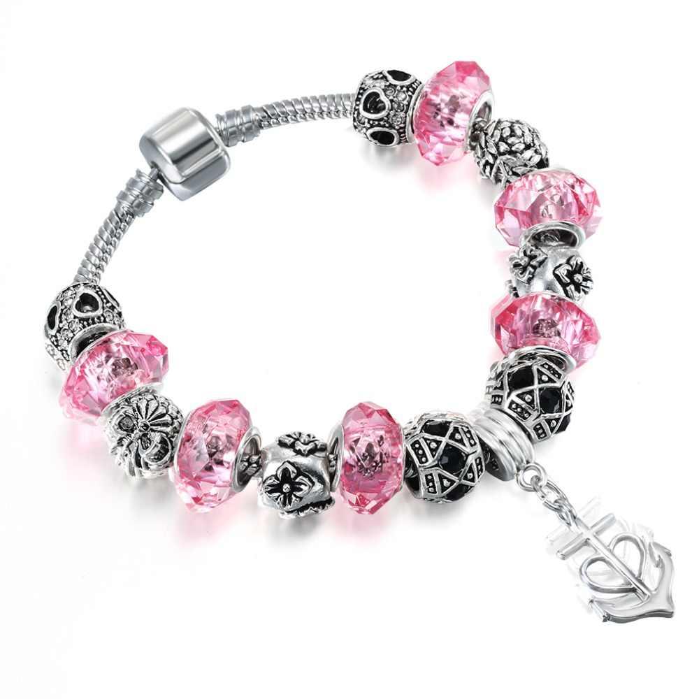 QIMING różowy kryształ koraliki bransoletki i Bangles zawieszka w kształcie węża kamień bransoletki dla kobiet DIY biżuteria Pulsera czechy bransoletka
