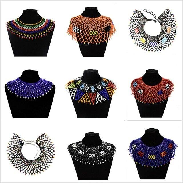 76bc1e303c92 Collar Tribal indio nueva moda collares coloridos acrílico con cuentas  egipcio étnico babero gargantilla collar Halloween cuello joyería