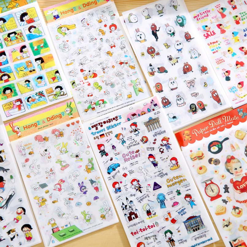 6pcs/set Cute Cartoon Stickers Scrapbooking Children Stickers Toys Decorative Craft DIY Diary Album Stickers Gifts For Kids