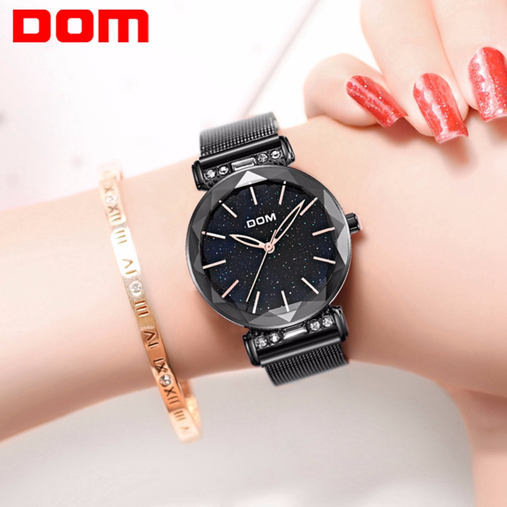 DOM Luxury Starry Sky Watch Woman Black Watches Fashion Casual Female Wristwatch Waterproof Steel Ladies Dress Watch G-1245GK-1M