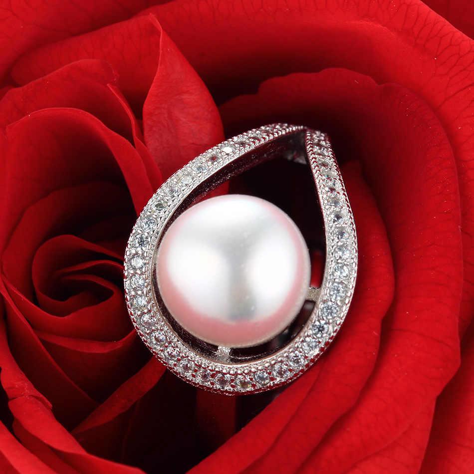 Cauuev 2018 งานแต่งงานแหวน AAAA คุณภาพสูงธรรมชาติ 100% แหวนมุกเครื่องประดับหมั้นผู้หญิงอุปกรณ์เสริม fine ของขวัญ