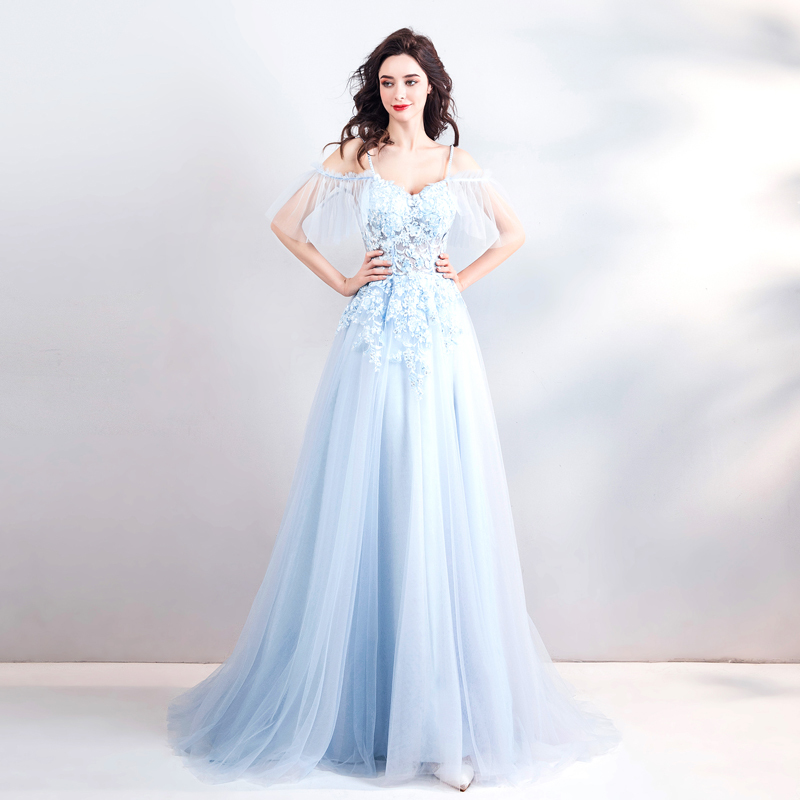 Backlakegirls Baby Blue 3d Flowers Evening Dress Sexy Spaghetti Strap With  Pearls Appliques Lace Long Evening Gowns Kaftan Dubai-in Evening Dresses  from ... 121683a8b8d6