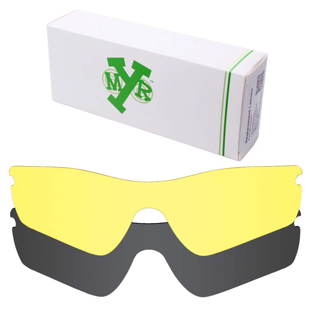 black and yellow oakley sunglasses 194m  2 Pieces MRY Replacement Lenses for Oakley Radar Path Sunglasses Stealth  Black & HD Yellow