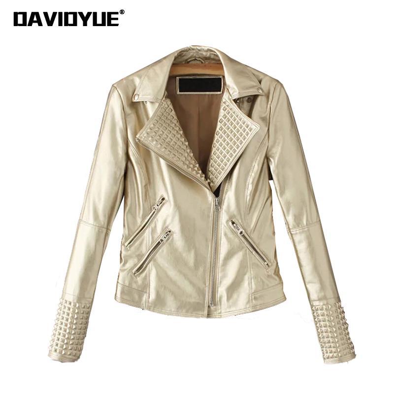 Hiver Faux cuir veste femmes noir rose argent moto Biker veste femme punk Rivet zipper pu cuir manteau 2018