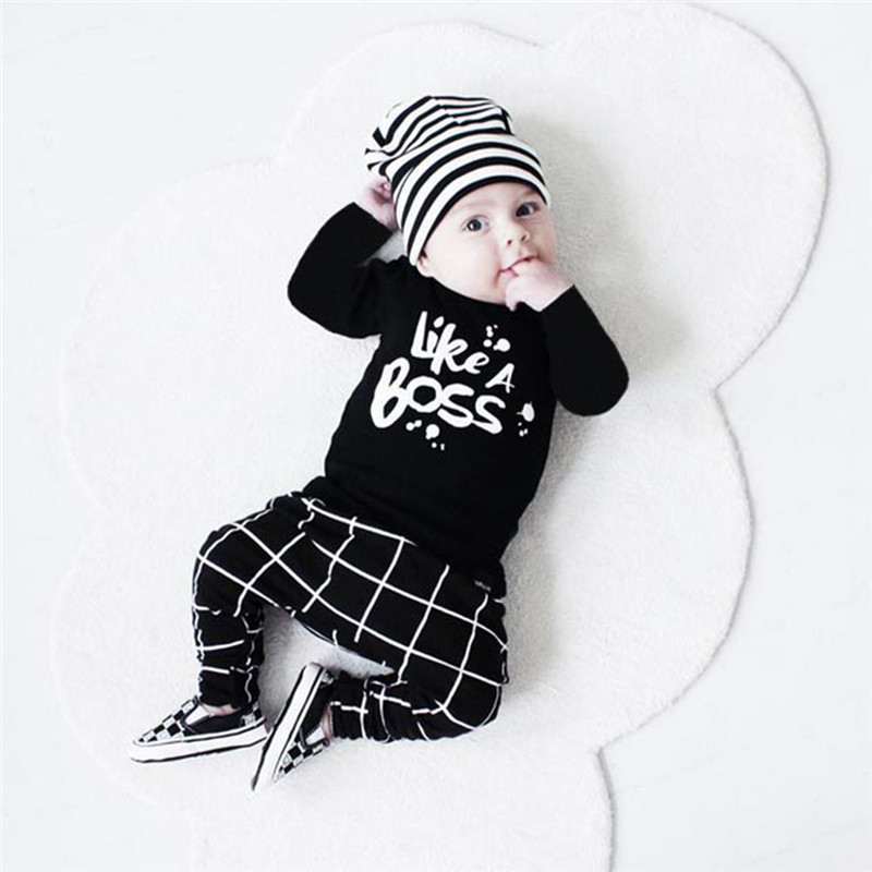 Spring Baby Boy Clothing Sets Cotton Long Sleeve T-shirt+Pants White Plaid Letters Print Infant Outfit Clothes 2PCS Suit Black  2016 autumn baby boy set cotton long sleeve print t shirt pants fashion baby boy clothes infant 3pcs suit hat lt01