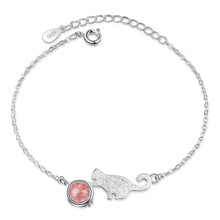 Sweet Little Cute Cat Animal Strawberry Quartz 925 Sterling Silver Ladies Bracelets Jewelry Women No Fade Choker Charms Gift