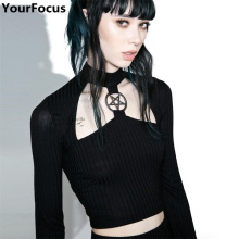 Harajuku vintage old school retro black gothic metal Pentacle long sleeve hollow out crop top crop tee tshirts YQ-789