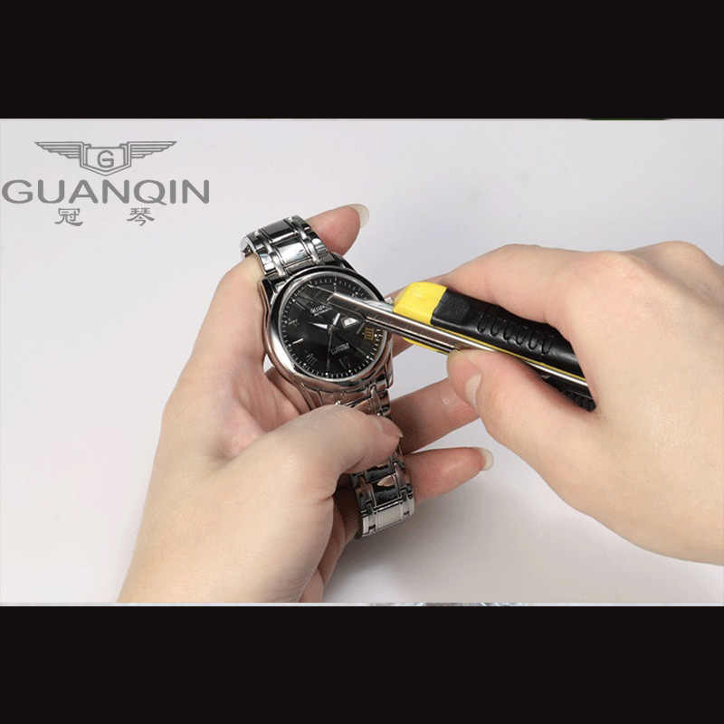 GUANQIN זוג שעונים סט יוקרה נירוסטה גברים נשים אוהבי שעון תאריך שבוע גברים גבירותיי שעון יד קוורץ שעונים שעון