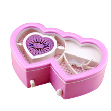 New Arrive Novel Double Hearts Dancing Girl Ballerina Musical Jewelry Box Children Girl Gift