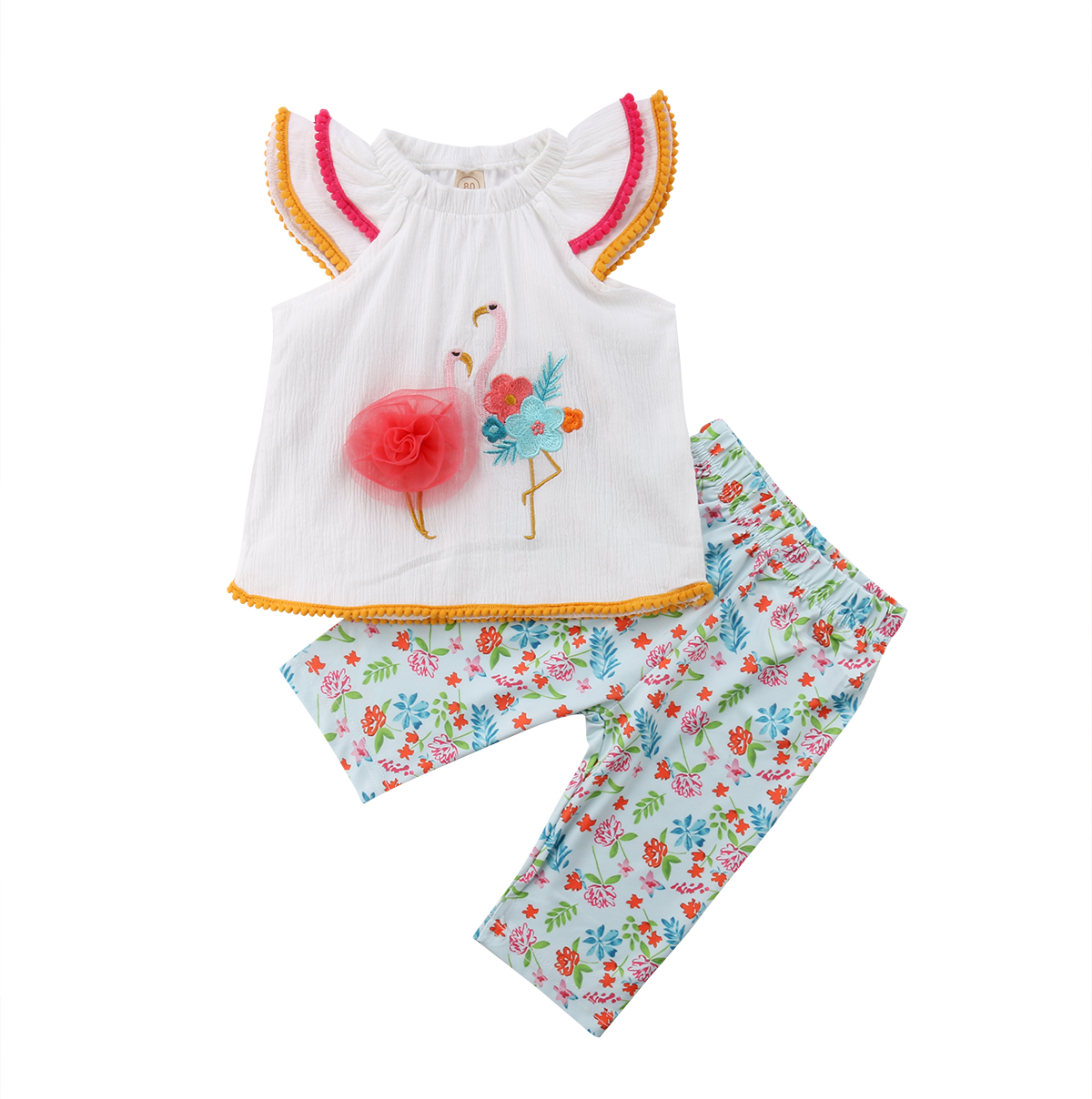 Embroidery Flamingo Kid Baby Girl Clothes Set Tops Shirts+ Pants  Outfits Flower Girls Clothes Sets