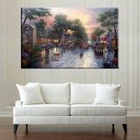 The Dusk Cityscape Painting Canvas Living Room Decor Thomas Kinkade Reproduction Beautiful Street Scenery Giclee Prints Canvas