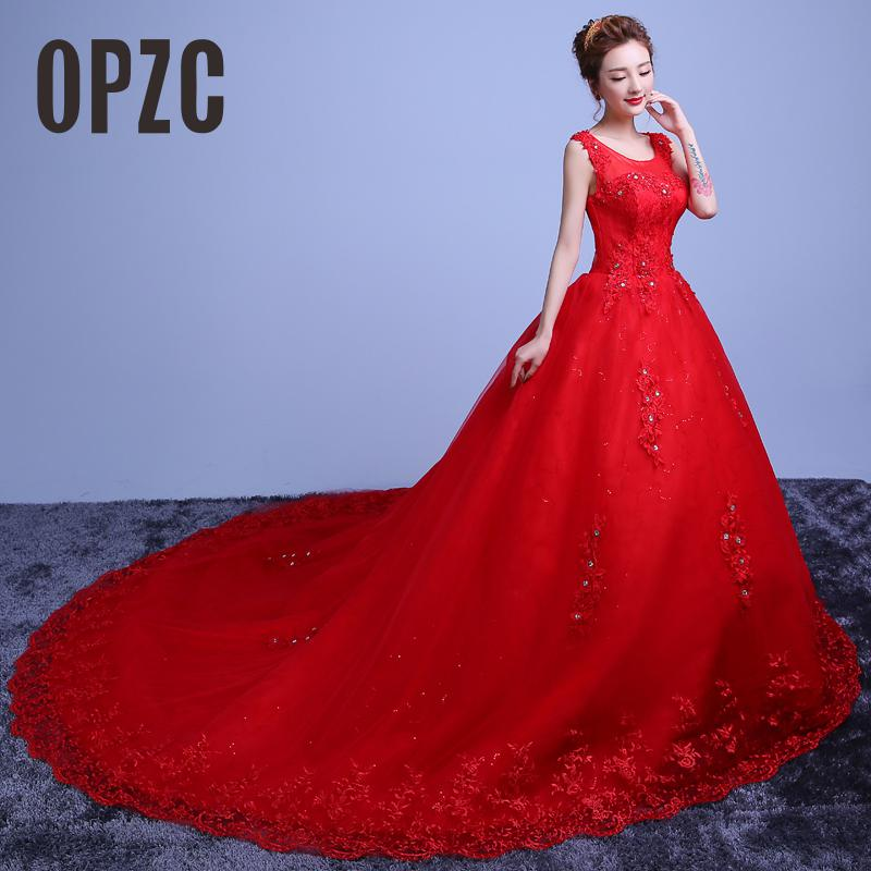 Red White  Hot Sale Royal Train 2017 Romantic Luxury Wedding Dresses With Tail Sexy Vintage Bridal High Lace Wedding Dress Y608