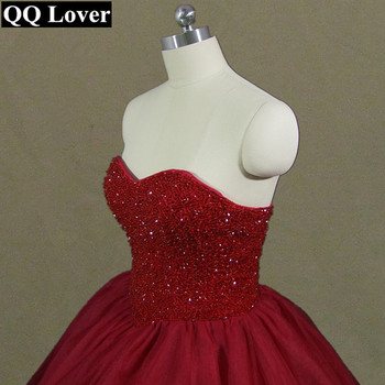 QQ Lover 2019 New Elegant Burgundy Wedding Dress Custom Made Luxury Beaded Wedding Gown Vestido De Noiva