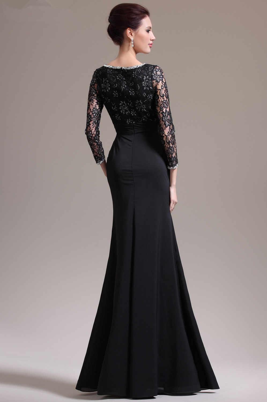 abd43964f6 Black Evening Dresses 2019 Mermaid V-neck 3/4 Sleeves Chiffon Lace Slit  Plus Size Long Evening Gown Prom Dresses Robe De Soiree
