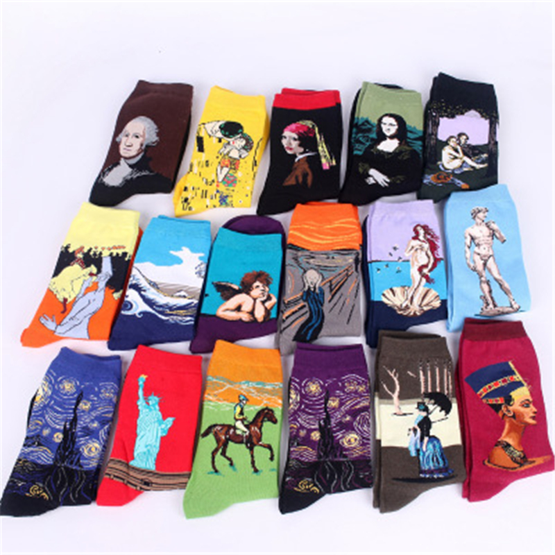 Classic Fashion Retro Abstract Oil Painting Art  Sweat Absorbing And Breathable Sock Modern Van Gogh Sky Painting Knitted C