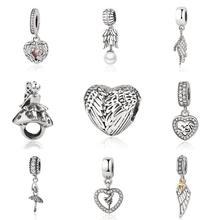 925 пробы Серебряный бисера Шарм Крыло ангела перо любовь кулон сердце бисер подходят Pandora Браслеты и браслеты DIY ювелирных