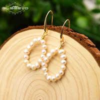 GLSEEVO Original fait à la main naturel eau douce perle ronde boucles d'oreilles pour fête de mariage bijoux Boucle D'oreille Femme GE0719