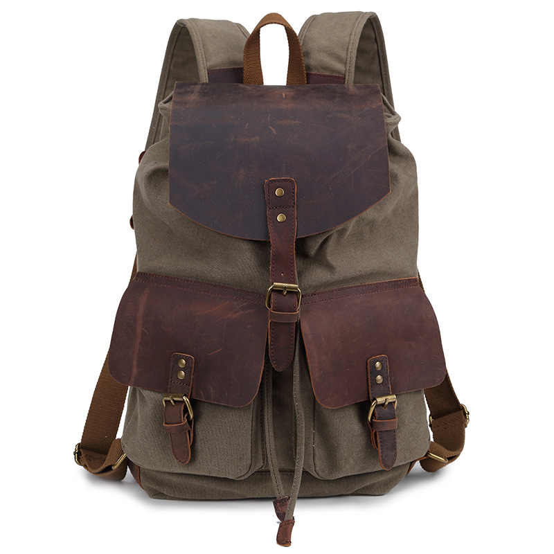 ФОТО 2016Fashion style Men's leather canvas bags Backpack leather bag