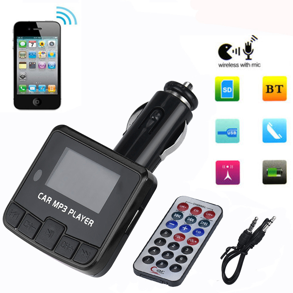 цена на Car Kit MP3 Player FM Transmitter Wireless Radio Adapter USB Charger Car Kit MP3 Player TF SD USB LCD Car Accessories